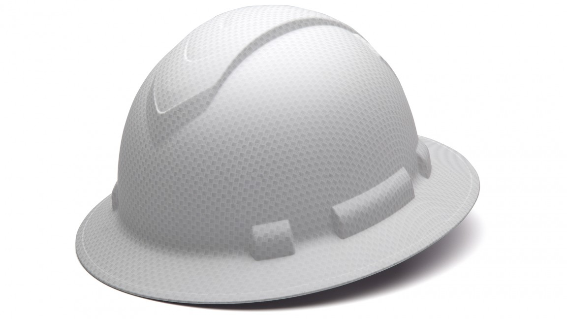 Ridgeline Matte White Graphite Full Brim Hard Hat