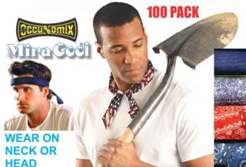 100 Pack MiraCool Cooling Bandanas Standard Colors