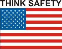 Designer Hard Hats Graphics | U S Flag Think Safety Stock Hard Hat Graphic