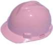 Pink MSA V-Gard Hard Hats W/Fas-Trac Ratchet Suspension