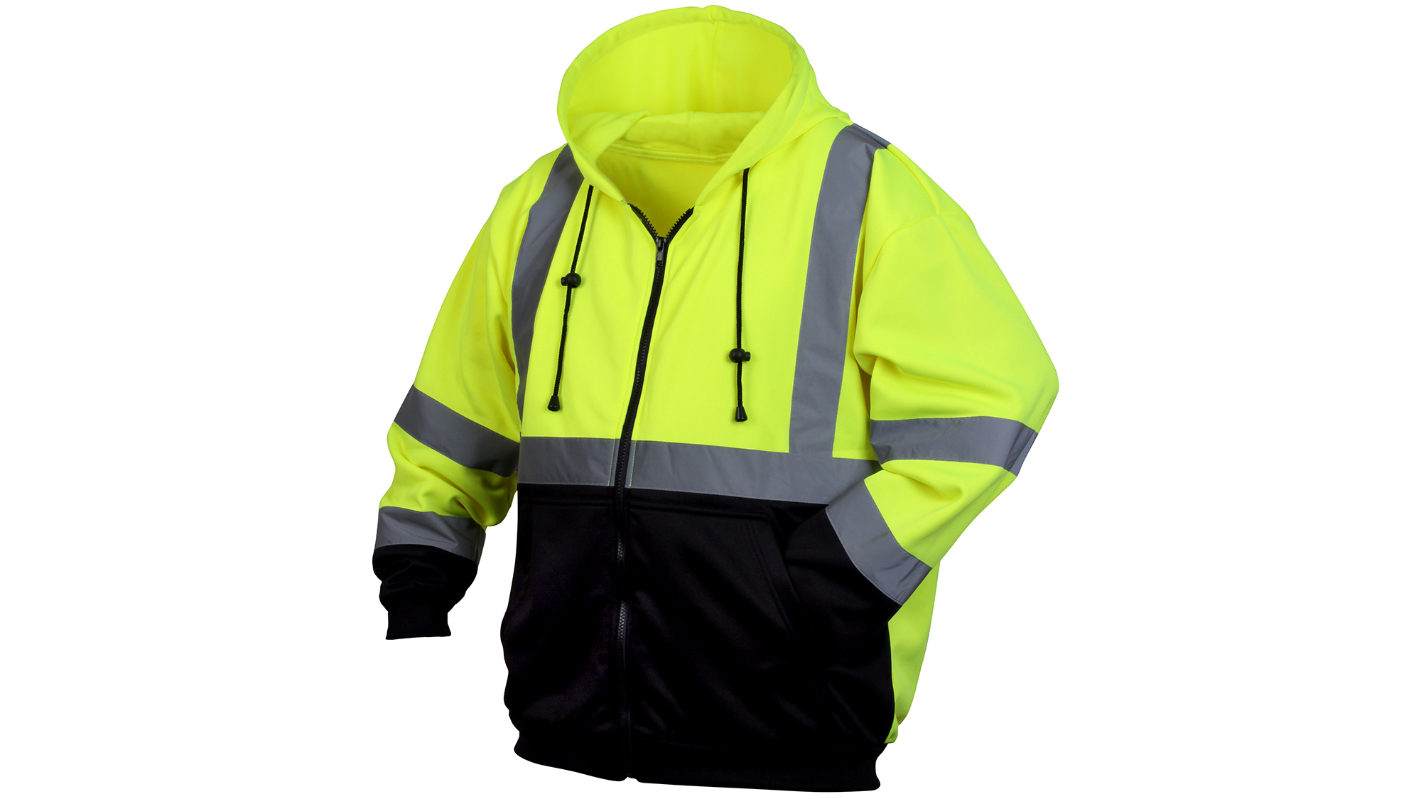 Pyramex Class 3 Hi-Viz Hooded Zip-Up Black Bottom Sweat Shirt
