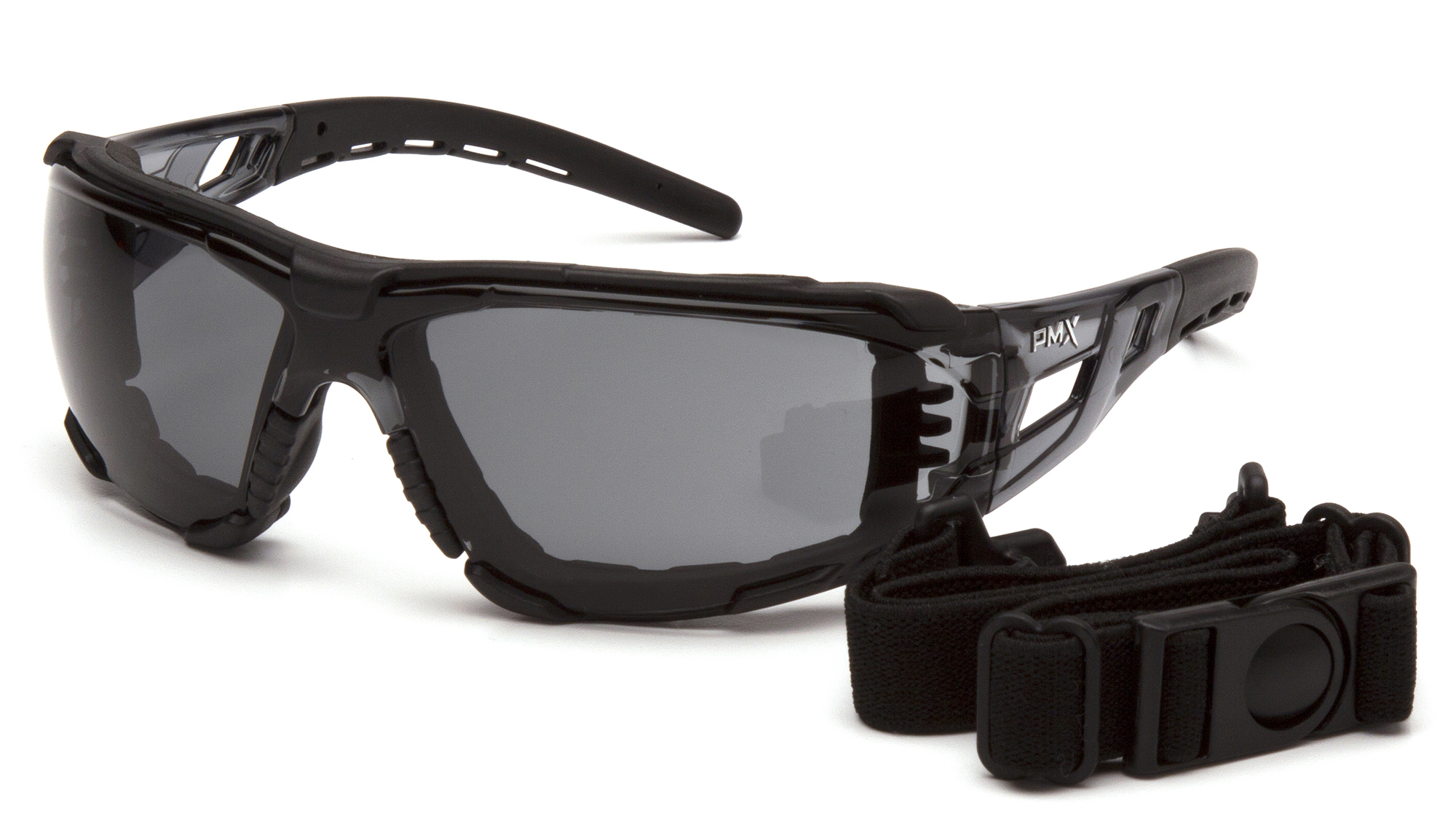 Fyxate Gray H2MAX Anti-Fog with Foam Padding Clear And Black Temples