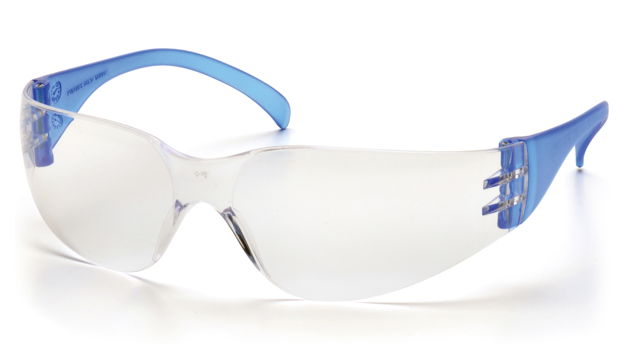Intruder Safety Glasses - Clear Hard-Coated Lens Blue Temples