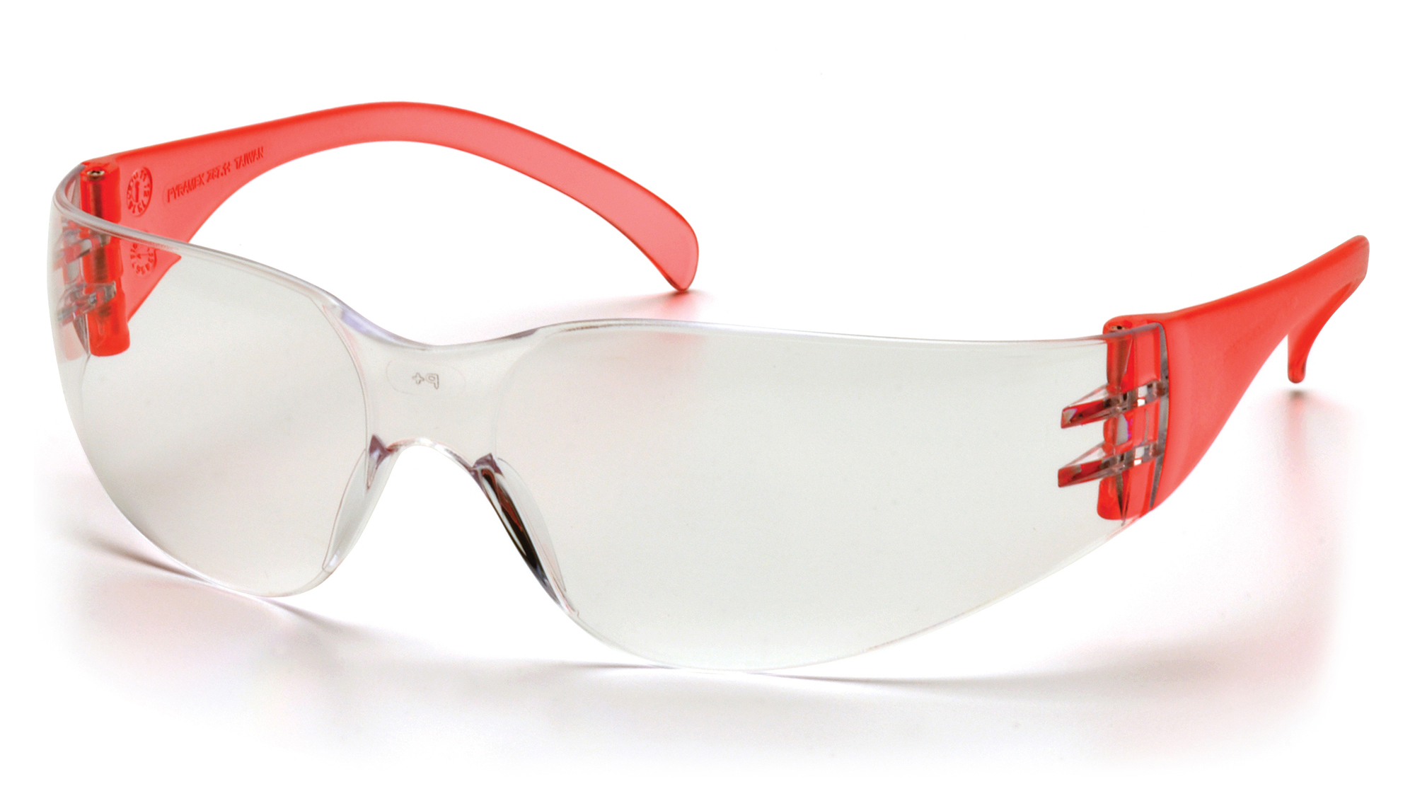 Intruder Safety Glasses - Clear Hard-coated Lens Red Temples