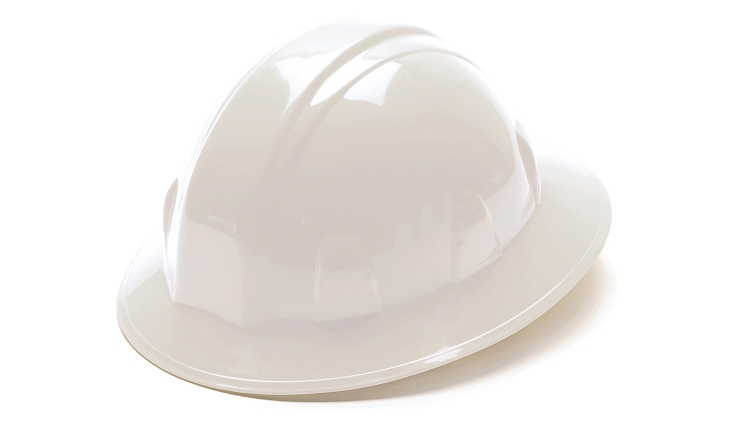 Pyramex Full Brim Hard Hat - With 4 Point Ratchet Suspension