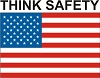 U.S. Flag (Think Safety) Stock Hard Hat Graphic