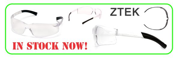 ztek safety glasses in stock.
