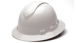 Ridgeline Vented Full Brim Hard Hats - With 4 Point Ratchet Suspension