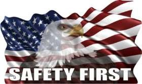 U.S. Flag - Wavy W/Eagle - Safety First Stock Hard Hat Graphic