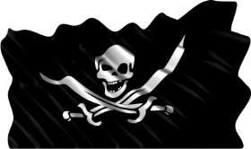 Wavy Pirate Flag Stock Hard Hat Graphic