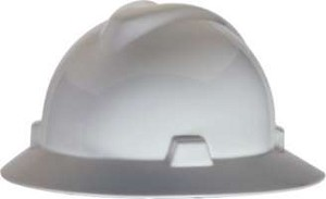 MSA V-Gard Full Brim Hard Hats W/Fas-Trac Ratchet Suspension