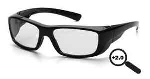SINGLE PAIR Emerge - Black Frame Clear +2.0 Full Reader Lens
