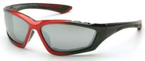 Accurist Safety Glasses - Silver Mirror Lens Black/Red Frame