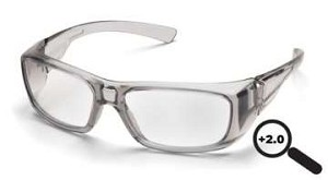 SINGLE PAIR Emerge - Gray Frame Clear +2.0 Full Reader Lens