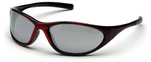 Zone II - Silver Mirror Lens Red Wood Frame