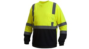 Pyramex RLTS31B Long Sleve Black Bottom Class 2 Hi-Viz T-Shirt