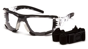 Fyxate Clear H2MAX Anti-Fog with Foam Padding Clear And Black Temples