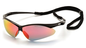 PMXTREME Safety Glasses - Black Frames Ice Orange Mirror Lenses