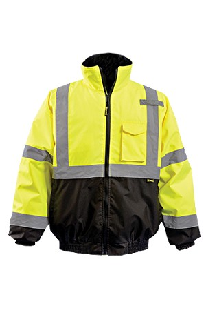 OccuLux ANSI Class 3 Hi-Viz Quilted Lined Black Bottom Bomber Jacket